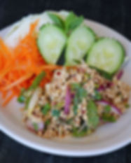 larb, thai food, larb salad, spicy minced chicken salad