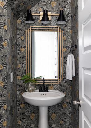 interior design, luxury, powder room, bathroom, textured wallpaper, gold, gray, high end, interior designer, richmond, texas, houston interior designer