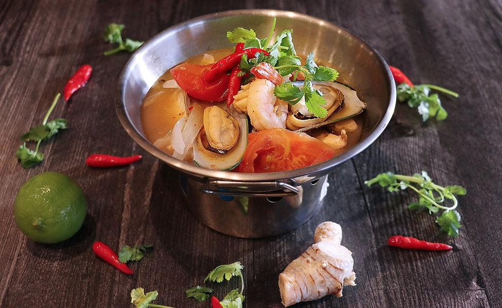 Tom yum soup, thai food, spicy seafood soup