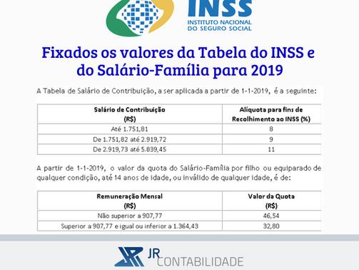 Fixados os valores da Tabela do INSS e do Salário-Família para 2019