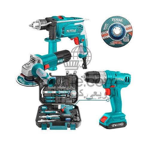 TOTAL Drill 650w & Angle Grinder 710w & Cordless Drill 12v | شنطة توتال 127ق