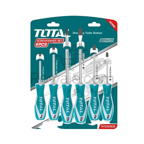 Total  THT250606 6 Pcs Screwdriver Set | طقم مفك 6 قطع بيد كاوتش خدمة شاقة
