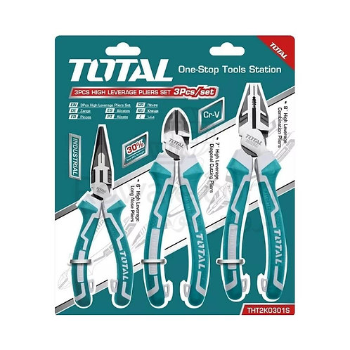 Total THT2K0301S High Leverage Pliers 3Pcs | طقم بنس صلب 30% اقوى خدمة شاقة
