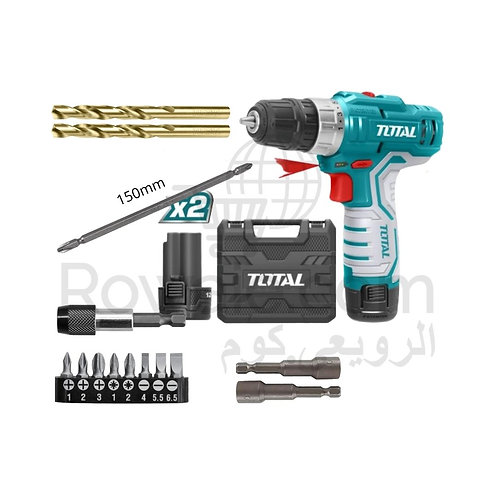 TOTAL TDLI1232 Drill 12v 2 Battery & Screwdriver Bits |شنيور شحن 12 فولت مع سنون