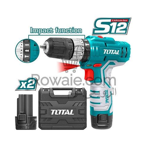 TOTAL TIDLI1232 Li-ion IMPACT DRILL 12V 20Nm | شنيور 12 فولت 2 بطارية دقاق