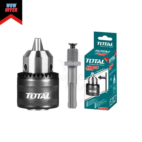 "TOTAL TAC451301.1 CHUCK KEY 1/2"" - 13mm WITH ADAPTOR   ظرف 13 ملى + وصلة هلتى"