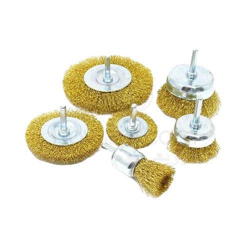 Wire Brush Drill Attachments Set 6 Pcs  |  6 قطع فرش نحاس