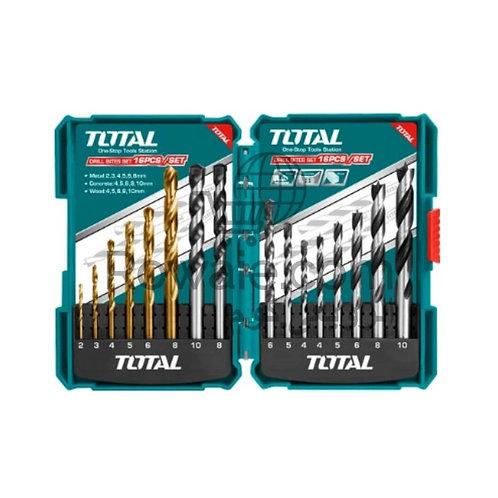 Total TACSD6165 Metal Concrete Wood Drill Bits Set 16Pcs | طقم بنط 16 قطعة متنوع