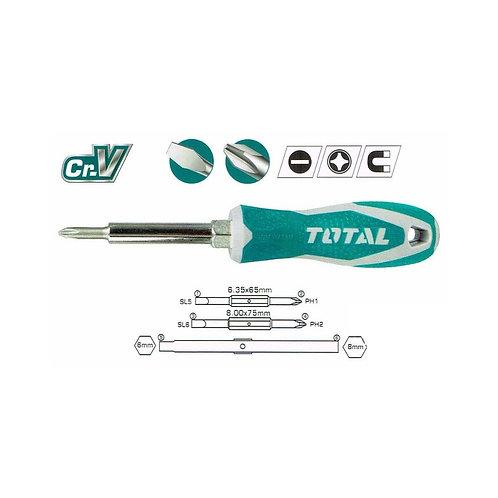 TOTAL THT2506076 6 in 1 Screwdriver Set | طقم مفك 6*1- 2قلاب مفك - 1قلاب لقم