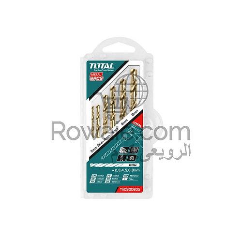 TOTAL TACSD0605 HSS TWIST DRILL BITS SET/طقم 5 قطعة بنطة حدادى