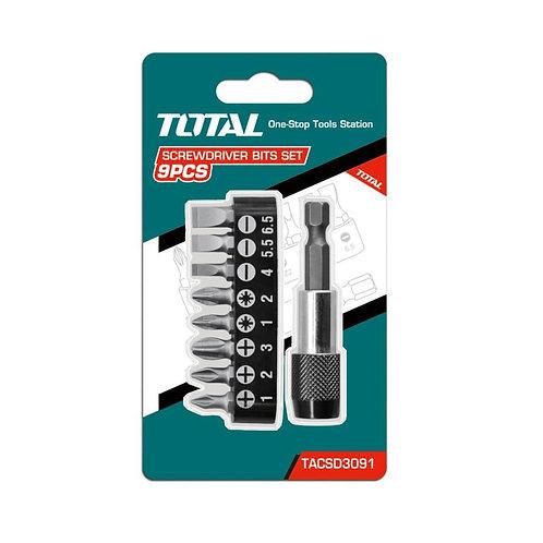 Total TACSD3091 Screwdriver Bits Set 9PCS | حامل سنون 9 قطع