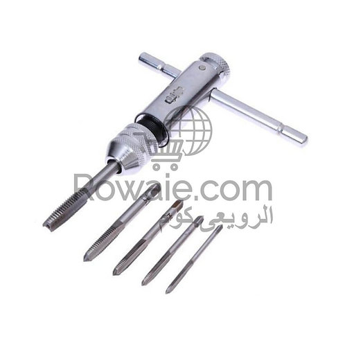 5Pcs Adjustable M3-M8 T-Handle Ratchet Tap Wrench Machinist Tool Screw Thread