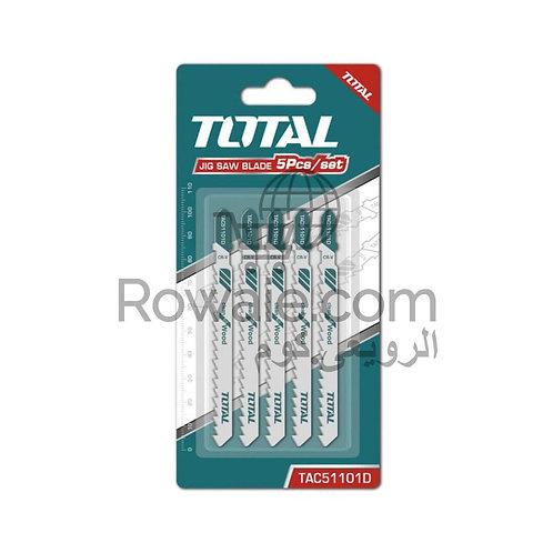 TOTAL TAC51101D JIG SAW BLADE FOR WOOD 100mm   طقم سلاح منشار اركيت 5 قطع