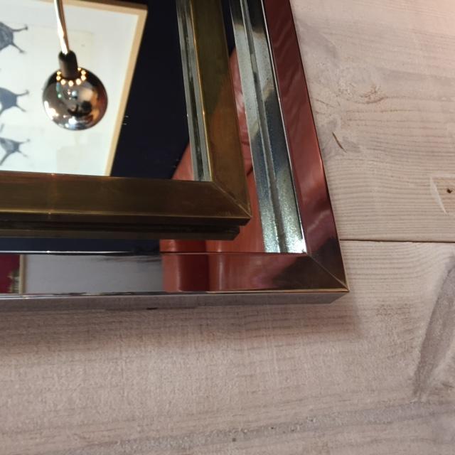Miroir acier chromé et laiton doré