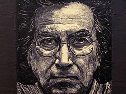 Antoni_Tápies_(Détail)-2005-_Technique_mixte_(acrylique_et_encre_de_chine)_sur_bois-100x100cm