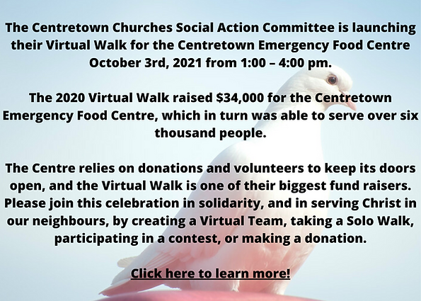 The Centretown Churches Social Action Committee is launching their Virtual Walk for the Ce