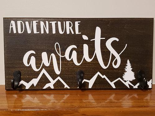 Adventure awaits wall mount coat rack