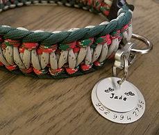 Handmade Dog Collar Handstamped do id tag