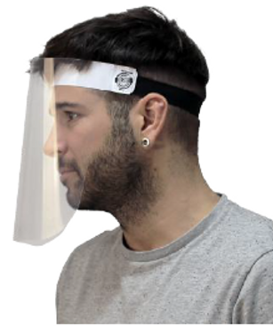 Pack 25 u. Pantalla facial con diadema PVC