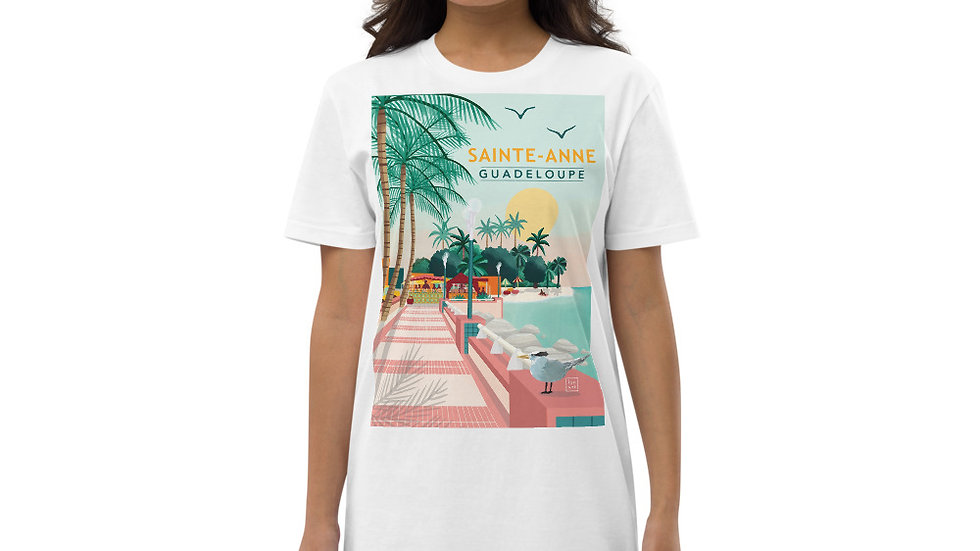 """Sainte-Anne Guadeloupe"" - Organic cotton t-shirt dress"