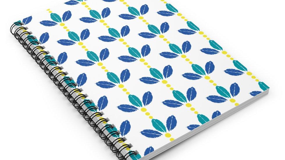 Blue & Yellow leaf crown - Spiral Notebook