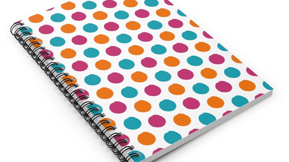 Fuchsia Turquoise Orange polka dots - Spiral Notebook