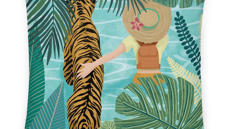 """Tiger travel companion"" - Premium Pillow"
