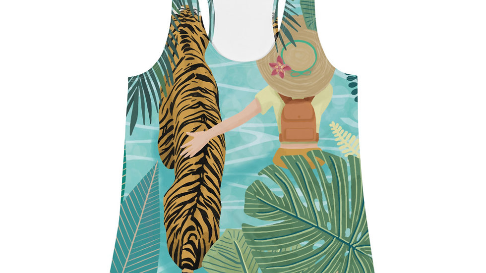 """Tiger travel companion"" - Women Racerback Tank"