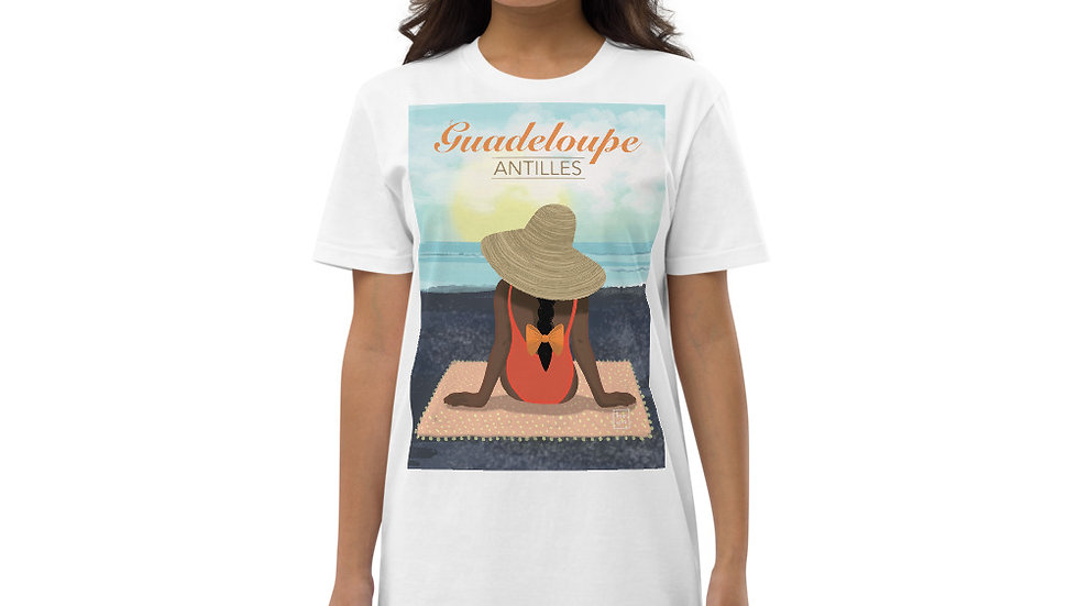 """Guadeloupe sunset black"" - Organic cotton t-shirt dress"