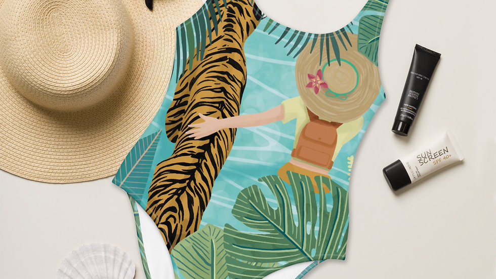 """Tiger travel companion"" - One-Piece Swimsuit"