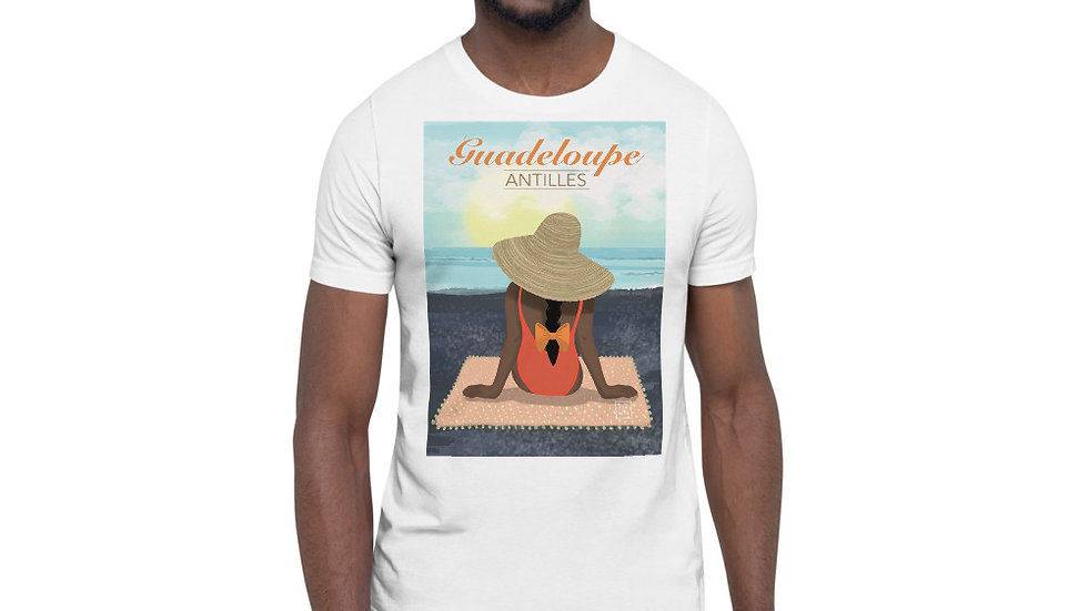 """Guadeloupe sunset black"" - Men Photo T-Shirt"