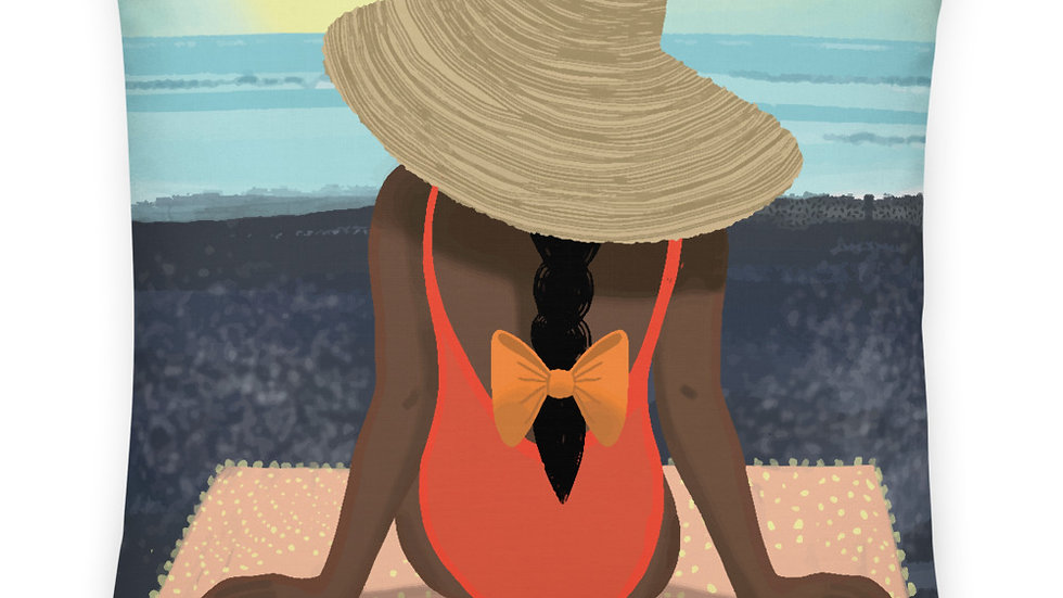 """Guadeloupe sunset black"" - Premium Pillow"