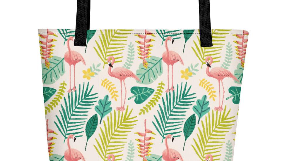 """""""Flamingo Cream"""" - Beach Bag"""