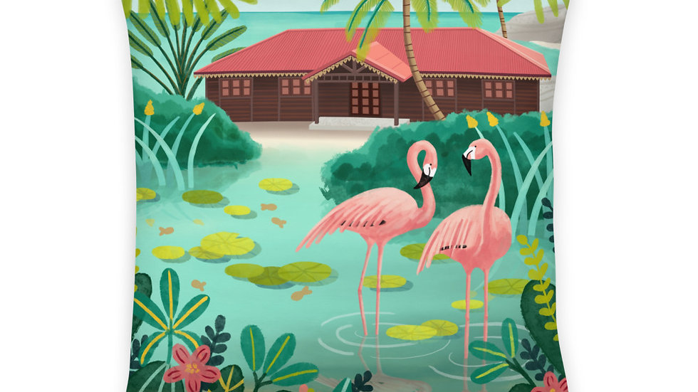 """Deshaies Tropical Garden"" - Basic Pillow"