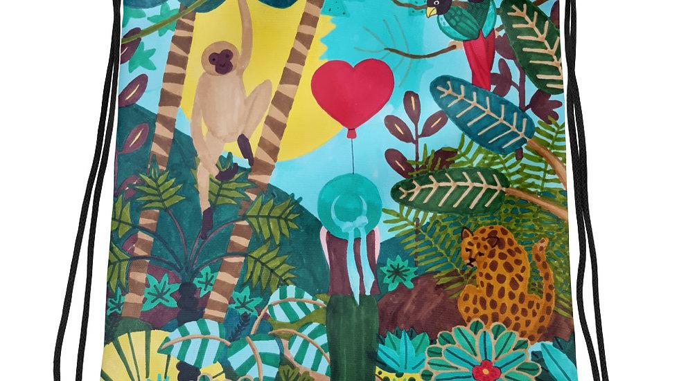 """She heart jungle"" - Drawstring bag"