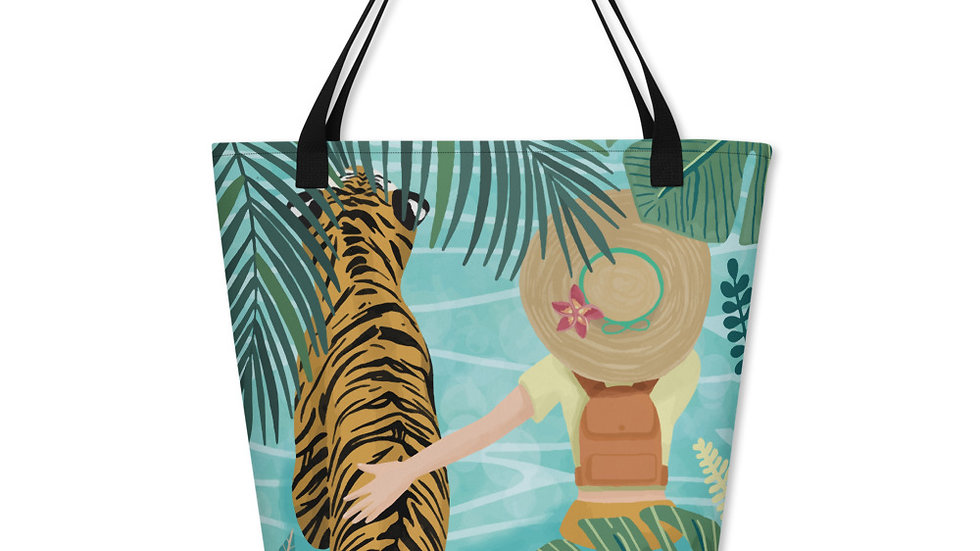 """Tiger travel companion"" - Beach Bag"
