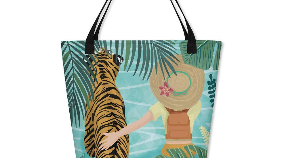 """Tiger travel companion"" - Beach Bag"