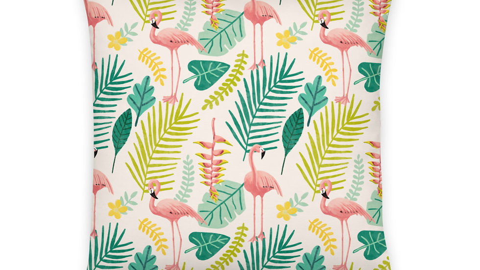 """Flamingo Cream"" - Basic Pillow"