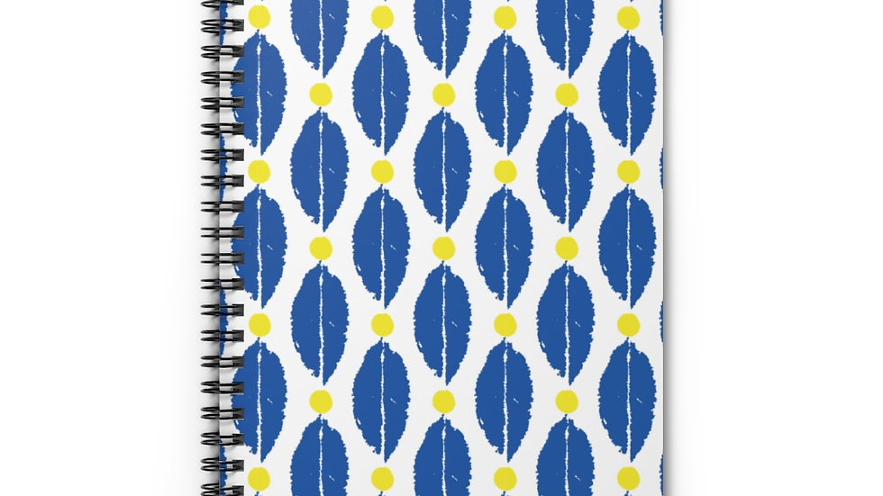 Blue & Yellow leaf - Spiral Notebook