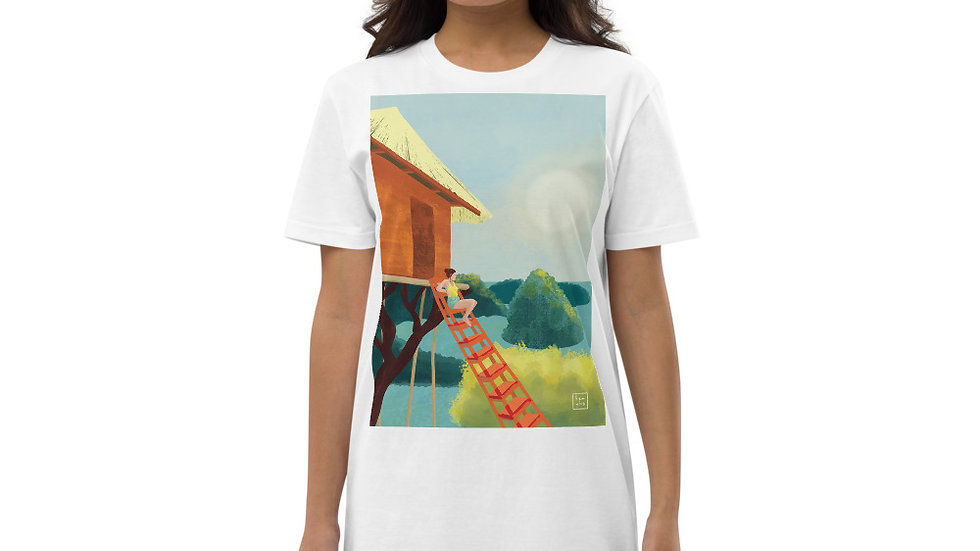 """Sunset in Bali"" - Organic cotton t-shirt dress"