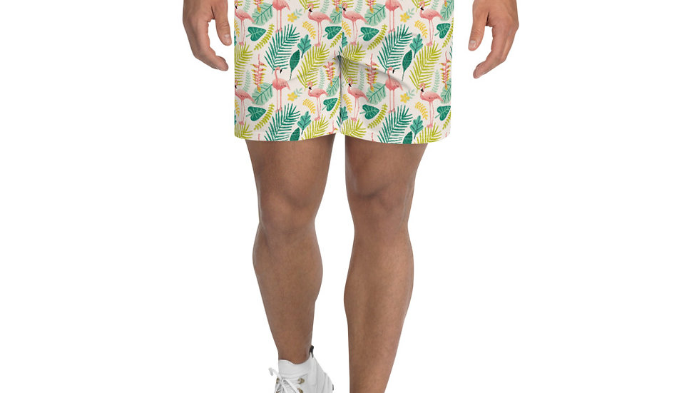 """Flamingo Cream"" - Men Athletic Long Shorts"
