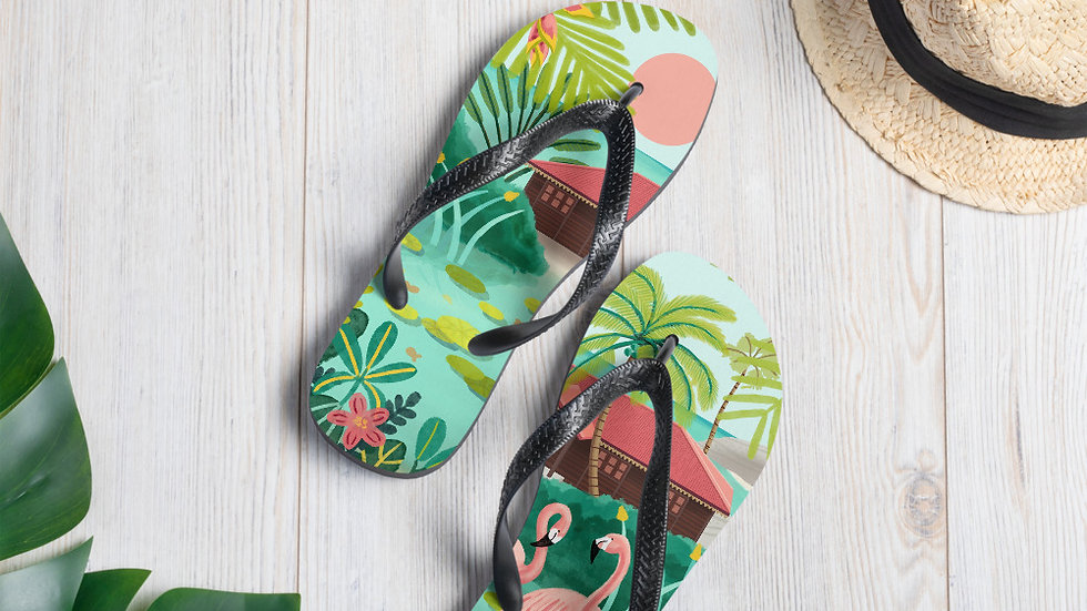 """""""Deshaies Tropical Garden"""" - Flip-Flops"""