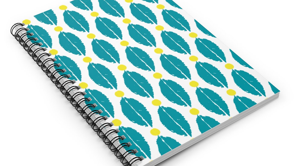 Turquoise & Yellow leaf - Spiral Notebook