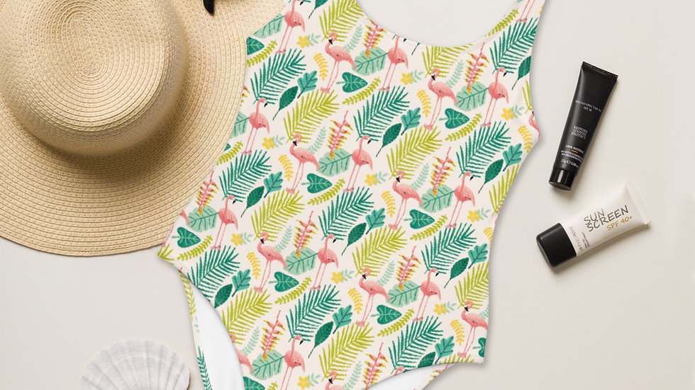"""Flamingo Cream"" - One-Piece Swimsuit"