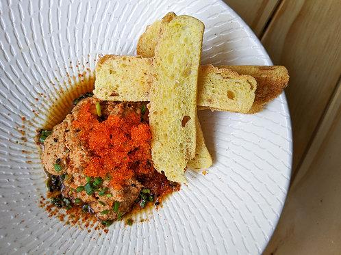 Toast with Monk Fish Liver and Yuzu Ponzu