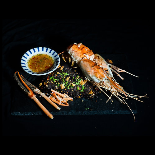 Giant River Prawn with Rice Berries/ Braised Tang Hoon & Lobster Mama Noodles