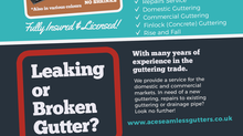 Leaflet design for Ace Seamless Guttering