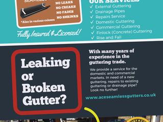 Leaflet design for Ace Seamless Guttering