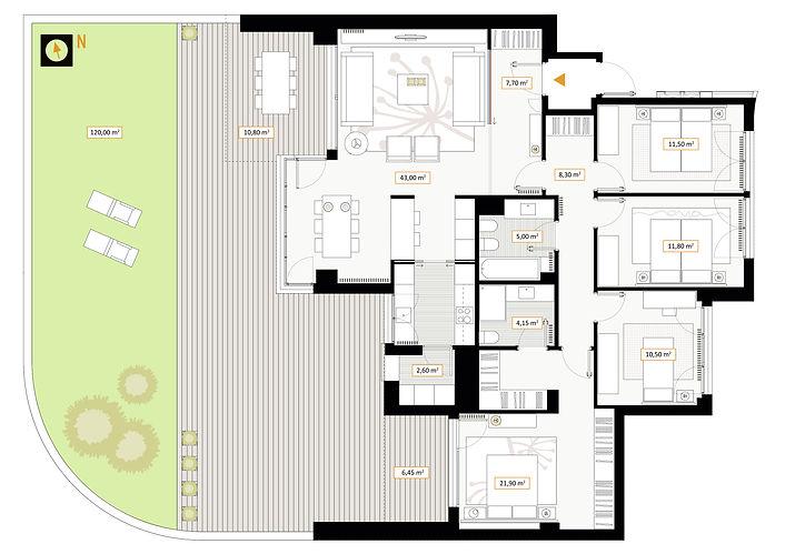 Vivienda de 4 dormitorios con jardín