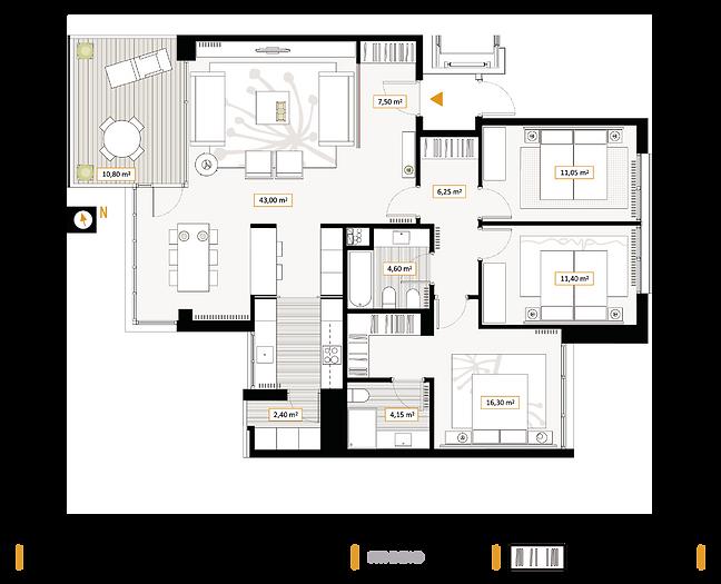 Plano 3 dormitorios
